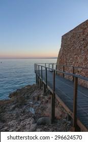 Salou beach at sunset  in Salou Tarragona Spain Catalonia.