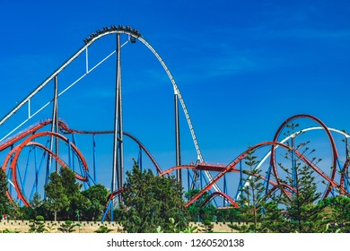 Salou, Catalonia/Spain - April 24, 2018: Attraction  park Port Aventura. One of the biggest entertaining park in Europe.