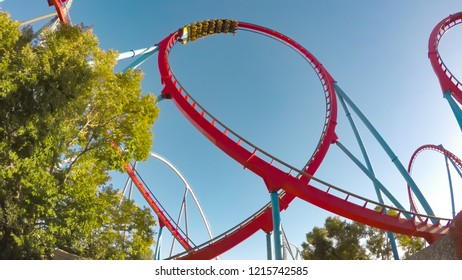 SALOU - OCTOBER 7, 2018: The Dragon Khan, a famous roller coaster of the Port Aventura theme park on October 7, 2018 in Salou, Spain.
