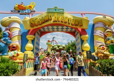 SALOU (PORTAVENTURA), SPAIN - Jun 16, 2015: Entrance gate to the attraction Sesamo Aventura located in the theme park Port Aventura