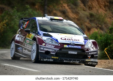 SALOU, SAPIN - OCT 31: Belgian driver Thierry Neuville and his codriver Nicolas Gilsoul in a Ford Fiesta RS WRC race in the 49th Rally RACC Rally of Spain, on Oct 31, 2013 in Salou, Spain.