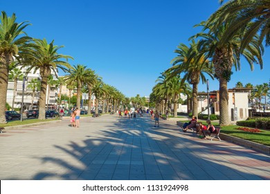 Salou, Spain - August 13, 2017: Salou is one of the largest tourist cities in Spain. Street for pedestrian walks.
