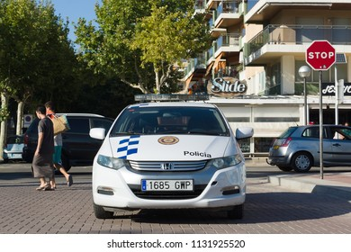 Salou, Spain - August 13, 2017: Salou is one of the largest tourist cities in Spain. A police car to guard the order.