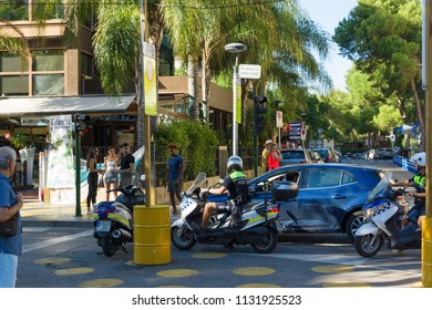 Salou, Spain - August 13, 2017: Salou is one of the largest tourist cities in Spain. Pedestrian streets with hundreds of tourists.