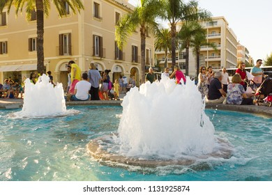 Salou, Spain - August 13, 2017: Salou is one of the largest tourist cities in Spain. On the main promenade there are many beautiful fountains.