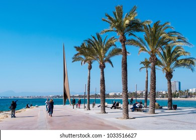 SALOU, SPAIN - FEBRUARY 25, 2018: A panoramic view of the coastline of Salou and its main beach, Llevant Beach, on a winter Sunday. Salou is a major summer destination for European tourism