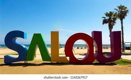 Salou, Spain - June 01, 2018: A big Salou sign at the Llevant Beach in Salou (Spain), a major destination for sun and beach for European tourism