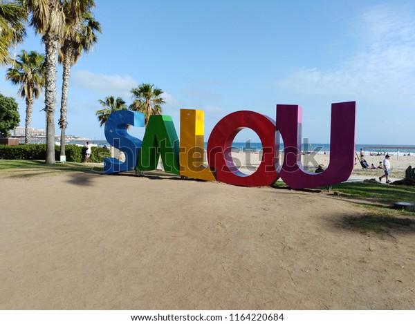 Salou, Spain Logo City at beach