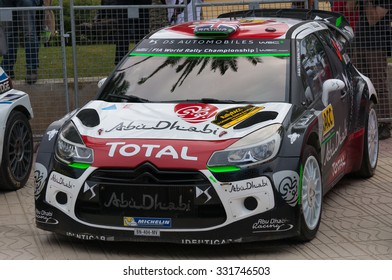 Salou, Spain - October 25, 2015: WRC Car of the team Citroen DS3 WRC Abu Dhabi with driver Kris Meeke and his co-driver Paul Nagle. Stage from the 51th Rally RACC Catalunya.