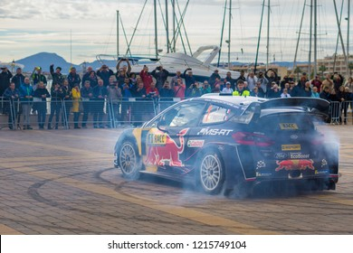 Salou, Spain - October 27, 2018: WRC car of the Team Ford Fiesta WRC, with driver Sebastien Ogier and his co-driver Julien Ingrassia Stage from the 54th Rally of Spain