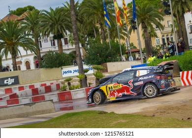 Salou, Spain - October 27, 2018: WRC car of the Team M-Sport Ford WRT, with driver Teemu Suninen and his co-driver Mikko Markkula Stage from the 51th Rally of Spain