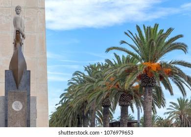 SALOU,SPAIN-SEPTEMBER 17,2014:Monument to king Jaume I in maritime promenade of Salou, Costa Dorada,Catalonia,Spain.