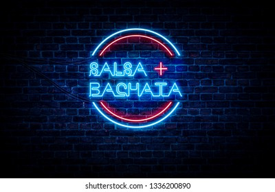 Salsa and Bachata written on a red and blue neon sign, with a brick wall in the background.