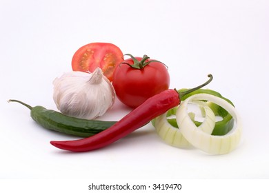 salsa ingredients isolated on white