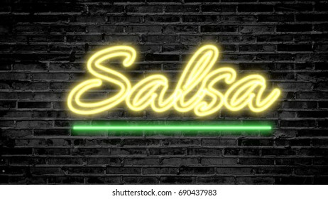 Salsa neon sign on dark brick wall - background image