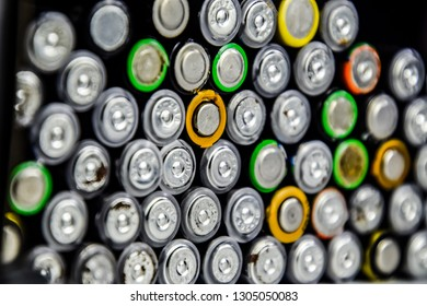 Salt and alkaline batteries, a source of energy for portable technology. AAA and AA batteries