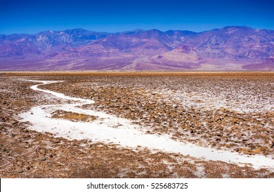 Salt Badwater Basin Panamint Mountains from Dante's View Death Valley National Park California Lowest spot in the Western Hemisphere 282 Feet below Sea Level from Highest Point in Death Valley