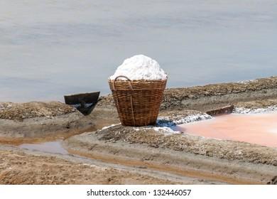 Salt in a basket on the salt, Phetchaburi Province, Thailand