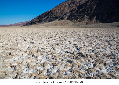 The salt bed of Badwater Basin, the lowest point in North America at -282 feet, in Death Valley National Park in California.