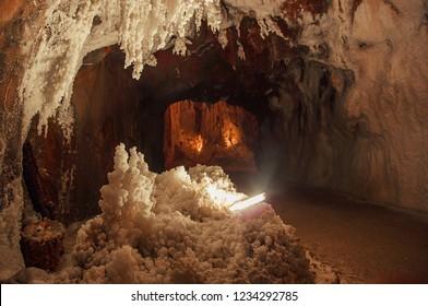 Salt cave in an old mine. Cardona, Spain. Cardona's Salt Mountain Cultural Park.  Muntanya de Sal.