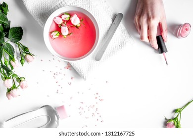 salt and cream for nail care in spa top view