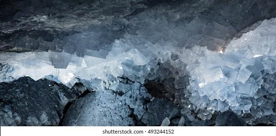 Salt Crystals in a Potash Mine