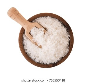salt crystals in wooden bowl on white background.