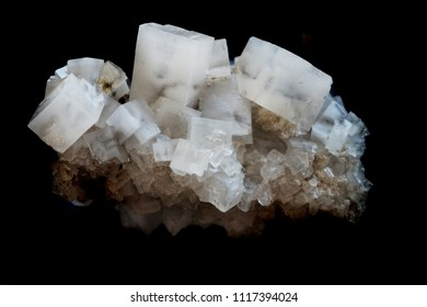 salt cubes mineral isolated on the black background