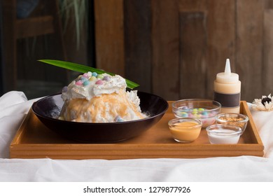 Salt Egg with colorful jelly Bingsu or Bingsoo Korean shaved ice dessert with sweet toppings, popular dessert. - Image