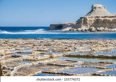 Salt evaporation ponds, also called salterns or salt pans located near Qbajjar on the maltese Island of Gozo.
