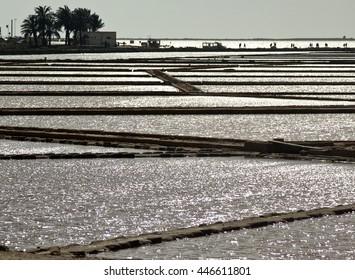 Salt evaporation ponds in Stagnone lagoon, Marsala, Sicily