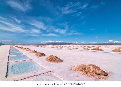 Salt Extraction Pools in Salinas Grandes Salt Lake, Salta - Jujuy, Argentina