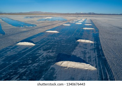 Salt Extraction in Uyuni Salt Flat in Bolivia.  Aerial Drone Scene.
