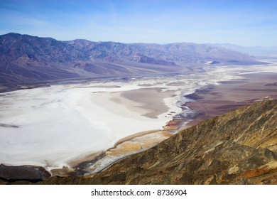 Salt flat formations of Badwater, the lowers point in Wester Hemisphere, Death Valley National Park