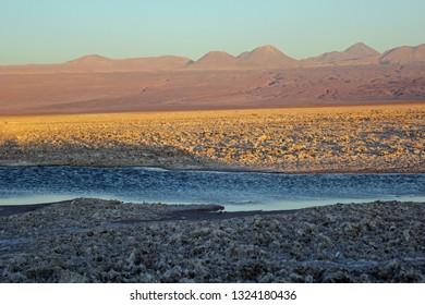 Salt Flats of the Atacama Desert at Dusk