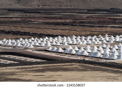 Salt flats at Salinas de Janubio, Lanzarote, Canary Islands, Spain