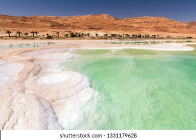 Salt formation in Ein Bokek hotel and resort district on the shore of the Dead Sea, near Neve Zohar, Israel.