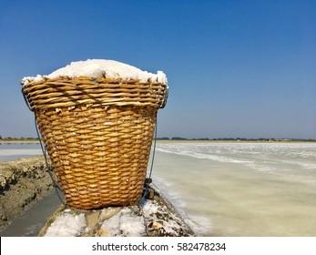 Salt fram with blue sky