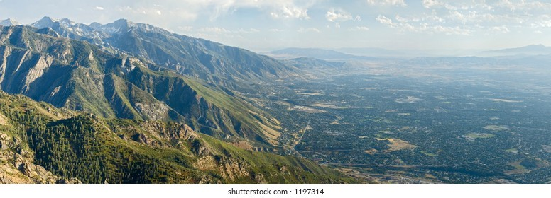 Salt Lake City aerial view from Mount Olympus