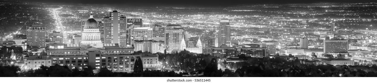 Salt Lake City black and white panoramic picture, Utah, USA.