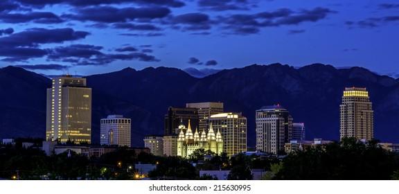Salt lake city in early morning twilight