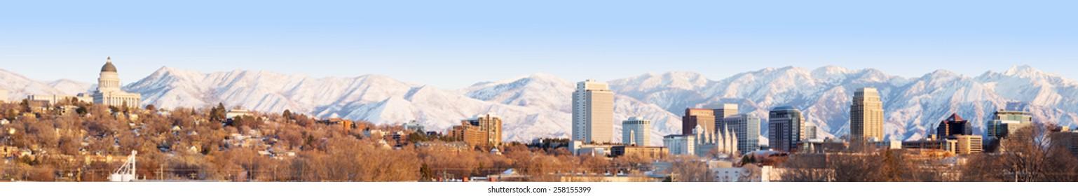 Salt Lake City at evening Panorama with Capitol Building. Salt Lake City, Utah, United States