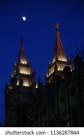 Salt Lake City Mormon LDS Latter-day Saing Temple at night with moon
