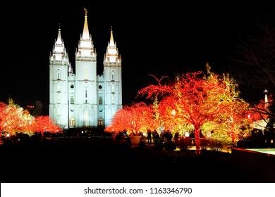 Salt Lake City Mormon Temple Christmas Lights December Utah