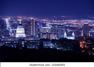 Salt Lake City at Night Panorama with Capitol Building. Salt Lake City, Utah, United States.