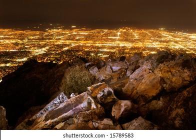 Salt Lake City at night as viewed from Mount Olympus