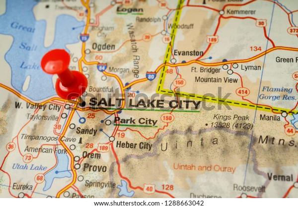 Salt Lake City On Map Stock Photo (Edit Now) 1288663042