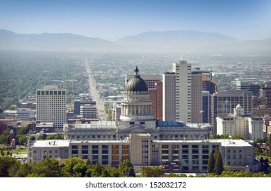 Salt Lake City Panorama and Capital Building. Salt Lake City, Utah, USA