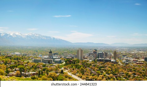 Salt Lake City panoramic overview on a sunny day