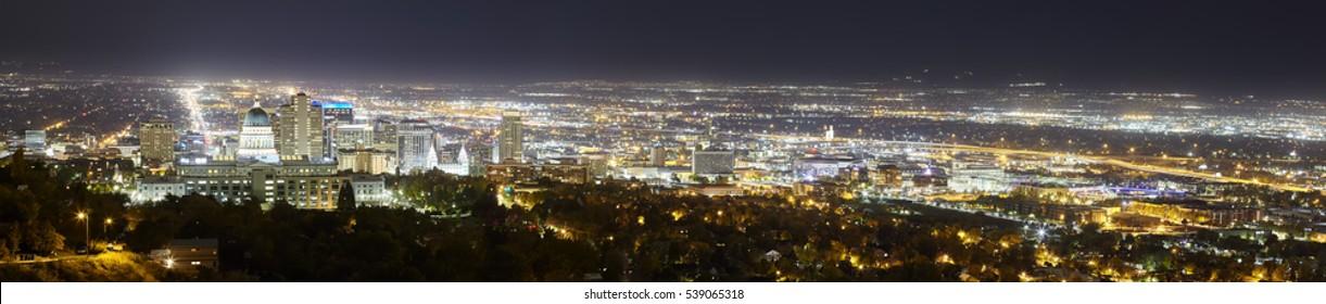 Salt Lake City panoramic picture, Utah, USA.